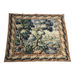 French Square Wall Tapestry in the Verdure Style For Sale