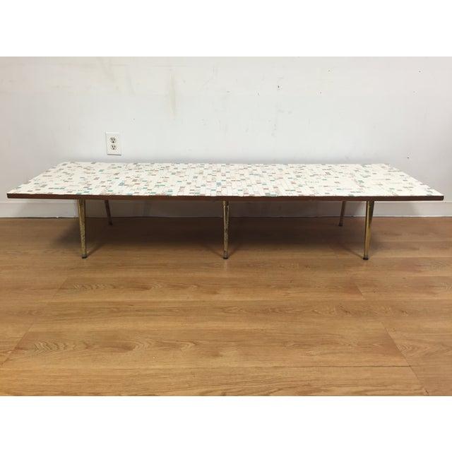 Mid-Century Tile & Brass Coffee Table