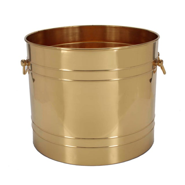 Large Scale Polished Brass Planter With Handles For Sale - Image 4 of 4