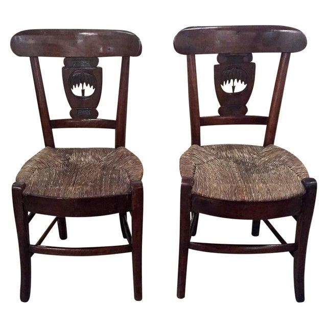 Antique Rush Seat Chairs - A Pair - Antique Rush Seat Chairs - A Pair Chairish