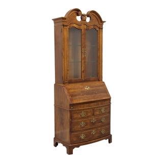 Henredon Chippendale Bow Front Walnut Folio 10 Secretary Desk For Sale