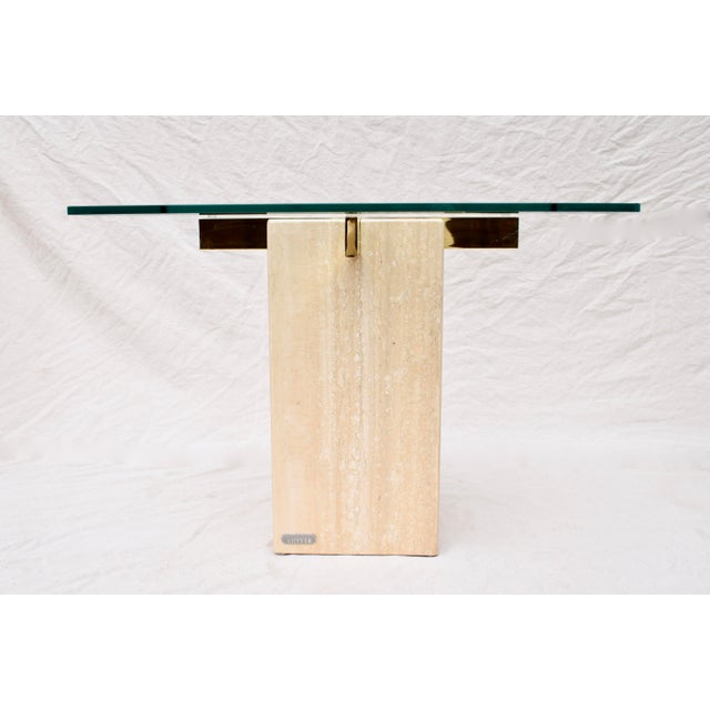 Hollywood Regency Artedi Travertine Marble Occasional Tables, Pair For Sale - Image 3 of 10