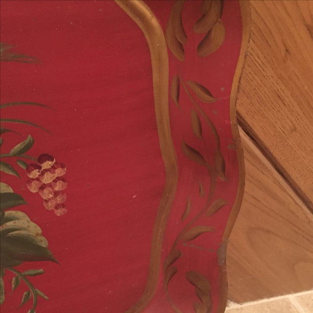 Antique Floral Tole Tray - Image 6 of 7