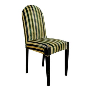 Art Deco Early 20th Century Vintage Striped Velvet Desk Accent Side Chair Green For Sale