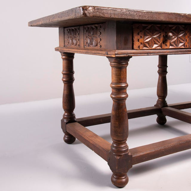 Portuguese All Original 18th Century Carved Walnut Table For Sale - Image 11 of 13