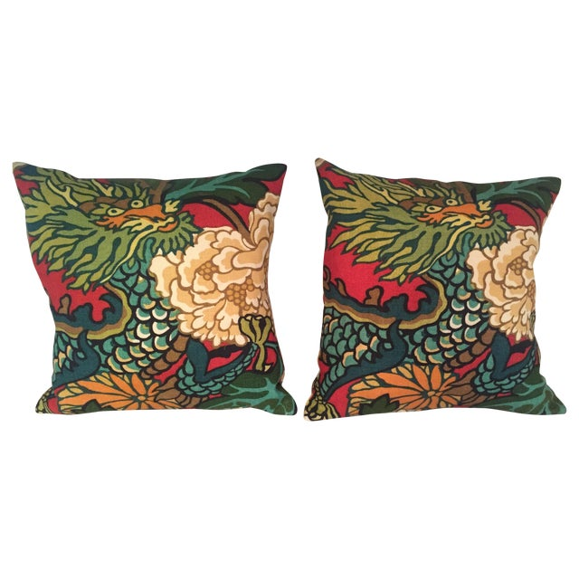 Schumacher Chiang Mai Dragon in Red Pillows - Pair For Sale