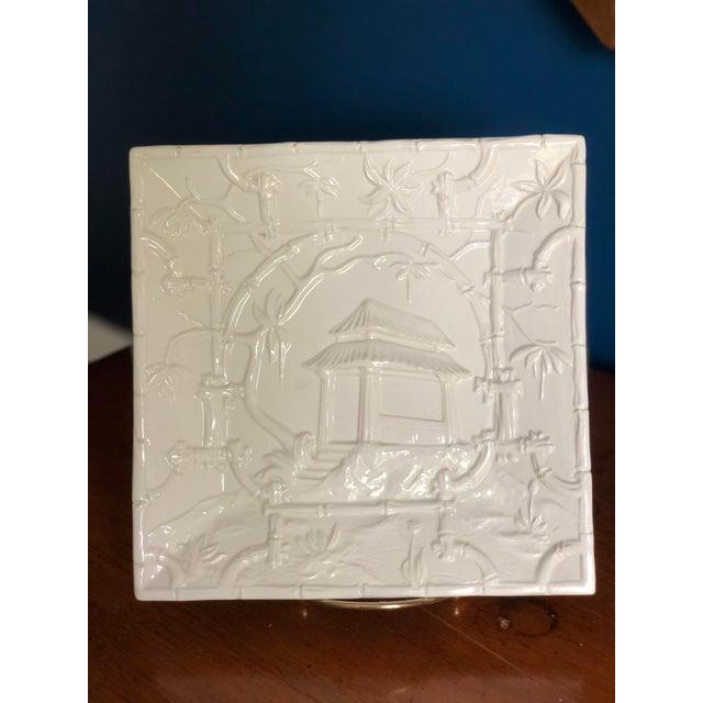 Ceramic Asian Modern Mottahedeh Design Pagoda Dish For Sale - Image 7 of 13