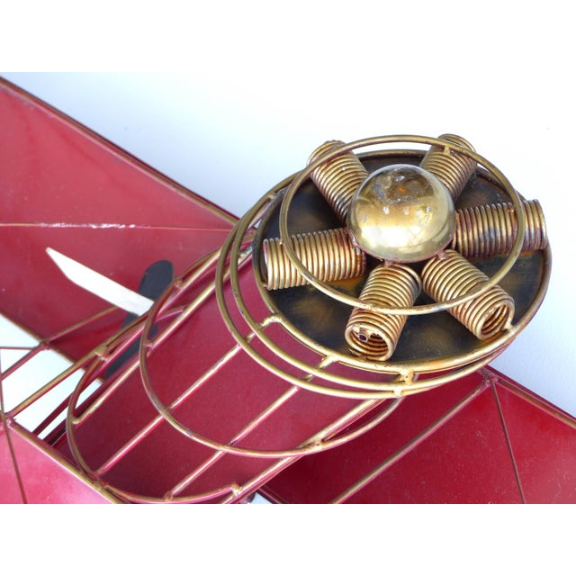 Mid-Century Modern Large Three Dimensional Iron and Brass Wall Sculpture of an Airplane in Flight For Sale - Image 3 of 10
