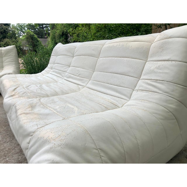 Wood Michael Ducaroy Togo Style White Vinyl Sectional - Set of 4 For Sale - Image 7 of 13