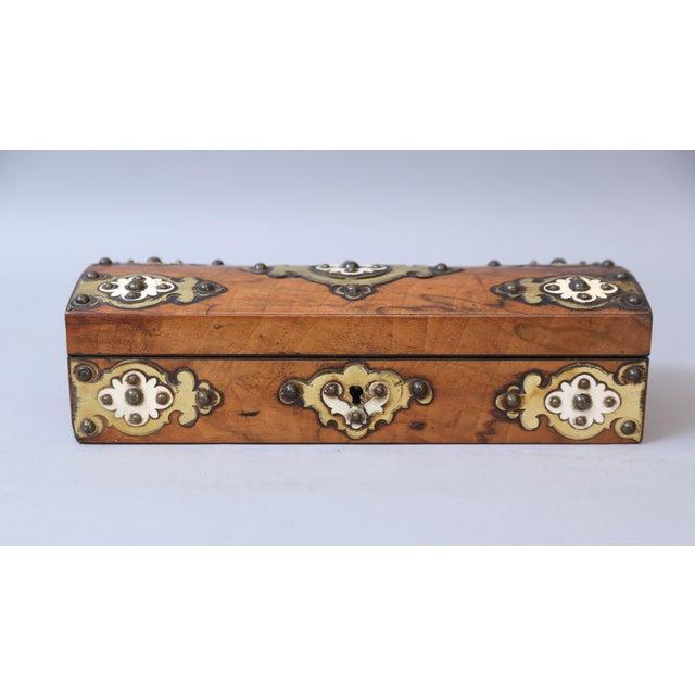 19th C. Brass & Bone Mounts Walnut Box - Image 7 of 7