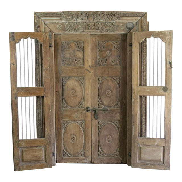 Antique Northern India Hand Carved Double Doors With Jamb - Image 1 of 10