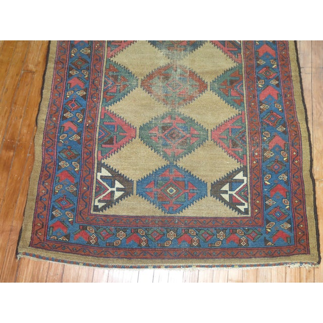 Geometric Antique Persian Rug - 3′10″ × 7′3″ For Sale - Image 4 of 4