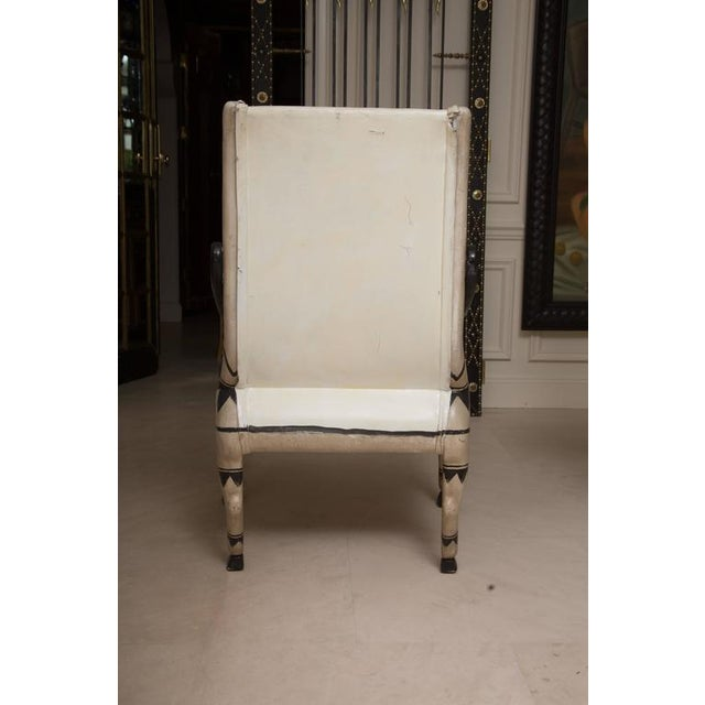 Early 20th Century Pair of Painted and Parcel Gilt Bugatti Armchairs For Sale - Image 9 of 10