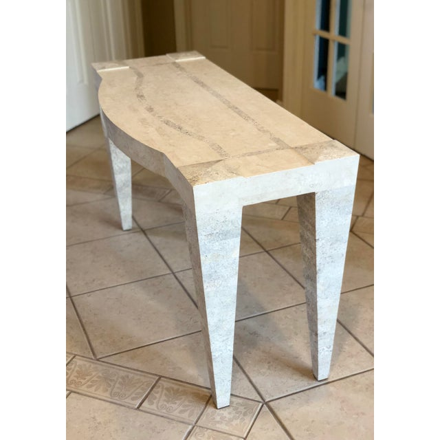 1980s Postmodern White Tessellated Marble Console For Sale - Image 4 of 6