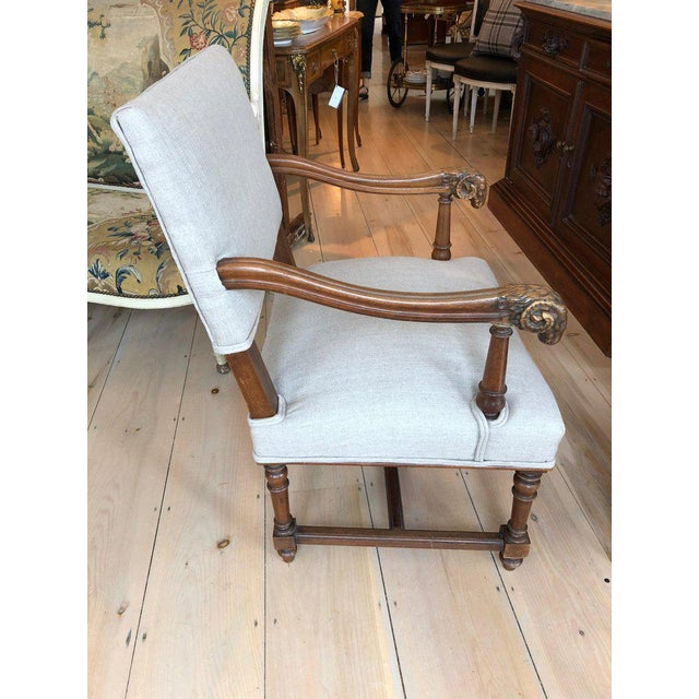 Handsome Carved Walnut and Linen Armchair For Sale - Image 9 of 10