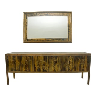 1970s Vintage Bernard Rohne for Mastercraft Credenza & Wall Mirror - 2 Pieces For Sale