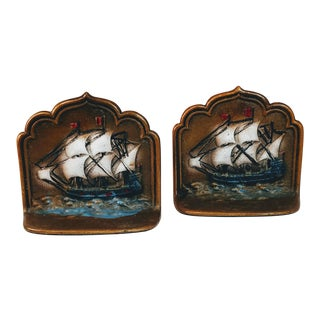 Vintage Cast Iron Ship Bookends Painted - A Pair For Sale