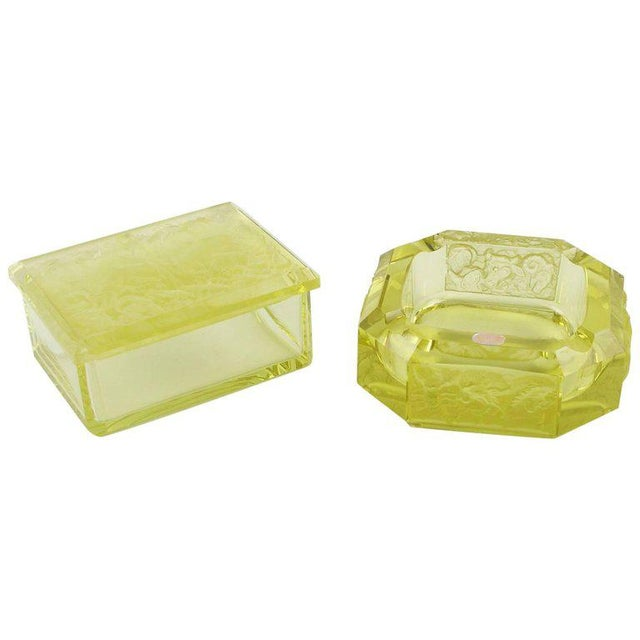 Bohemian Art Deco Vaseline Czech Glass Ashtray & Box - Image 11 of 11