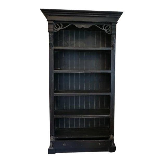 Vintage Distressed Black Bookcase For Sale