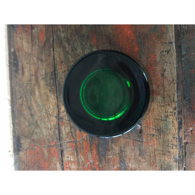 Vintage Chianti Ruffino Pontassieve Green Glass Ashtray For Sale - Image 4 of 7
