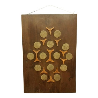 Cement & Ceramic Collage Wooden Wall Hanging For Sale