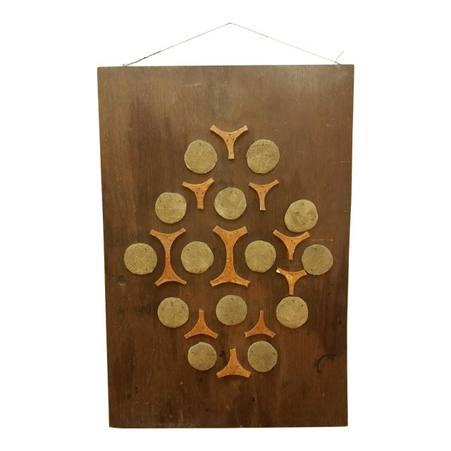 Cement & Ceramic Collage Wooden Wall Hanging - Image 1 of 6