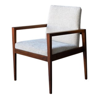Jens Risom solid Walnut Lounge Chairs, Pair
