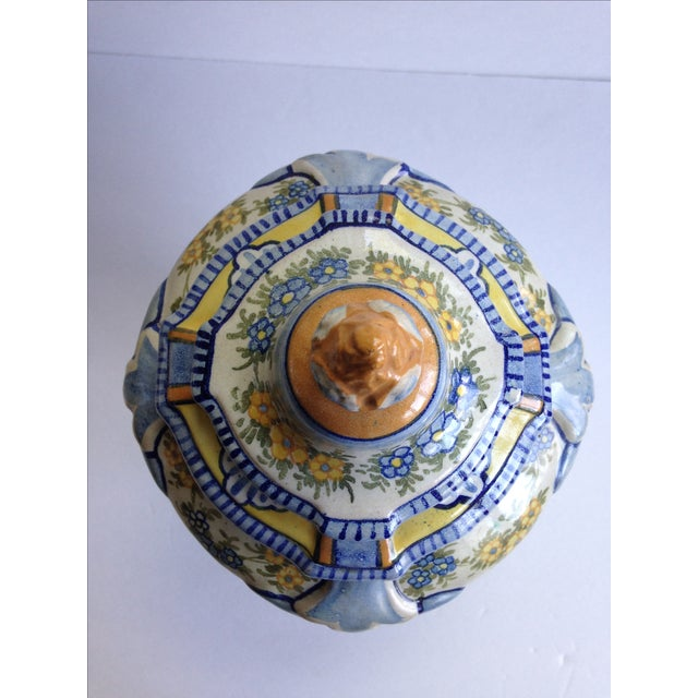 Hand-Painted Floral Italian Lidded Urn - Image 5 of 8