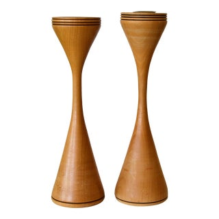 Signed Scandinavian Modern Handcrafted Turned Wood and Brass Candle Holders Pair For Sale