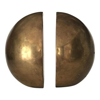 Mid-Century Brass Ball Bookends - a Pair