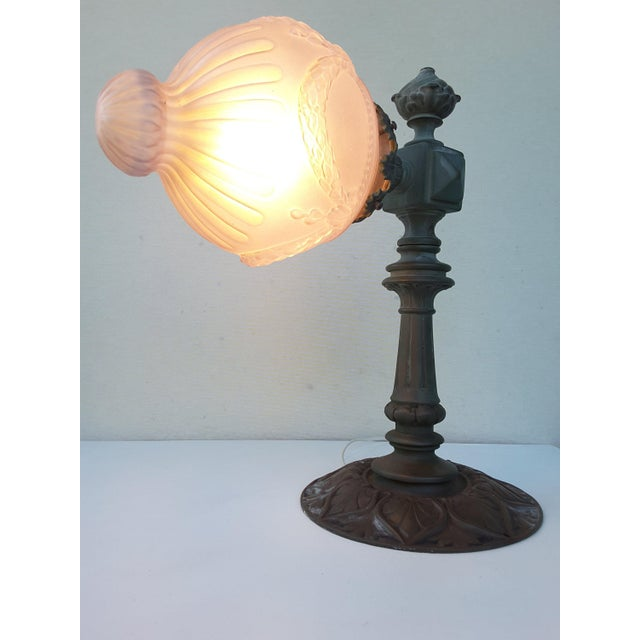 Green Antique French Parisienne Street Lantern in Solid Bronze For Sale - Image 8 of 11