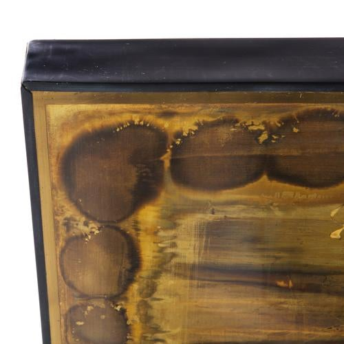 Brass LARGE ACID-ETCHED AND OXIDIZED BRASS PANEL BY BERNHARD ROHNE For Sale - Image 7 of 7
