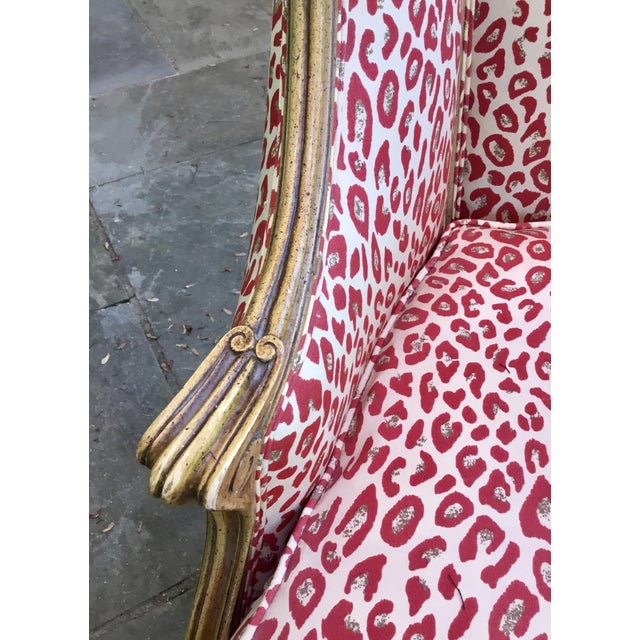 1940s 1940s Louis XV Style French Accent Chair Upholstered in Red Leopard Fabric For Sale - Image 5 of 8
