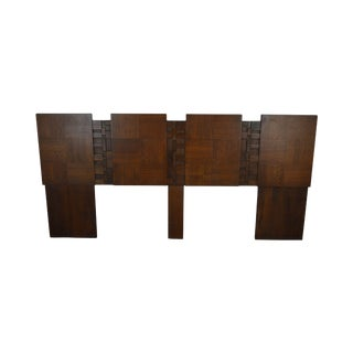 Brutalist Style Mid Century Walnut King Headboard After Paul Evans For Sale