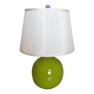 1970s Ceramic Lamp & Silk Shade For Sale