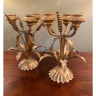 1960s Hollywood Regency Italian Tole Gilt Wheat Candelabras - a Pair Preview