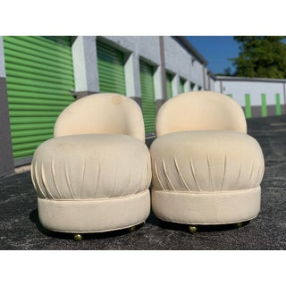 1970s Vintage Gold Caster Pouf Chairs - A Pair Preview