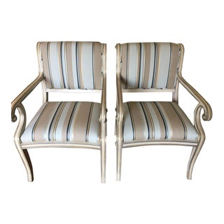 Late 20th Century Striped Upholstered Painted Wood Chairs- a Pair For Sale