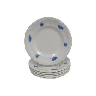 Antique Lavender & White Porcelain Plates - Set of 6 For Sale