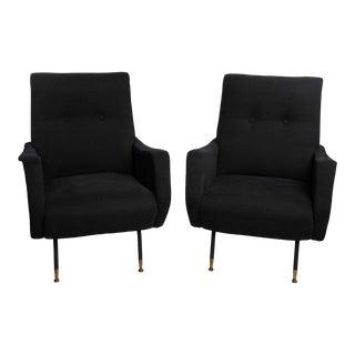 1960s Zanuso Style Italian Black Armchairs - a Pair For Sale