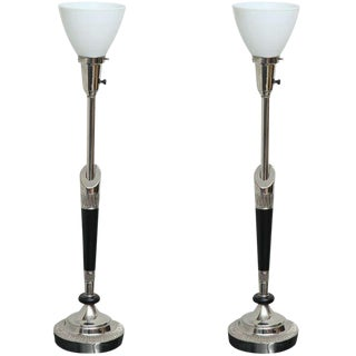 Pair of Stiffel Nickel and Ebonized Wood Table Lamps