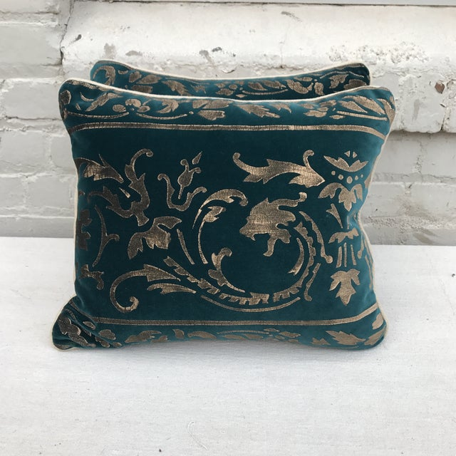 Gold Stenciled Velvet Pillows - A Pair - Image 2 of 7