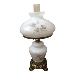 Vintage Mid Century Milk Glass Lamp For Sale