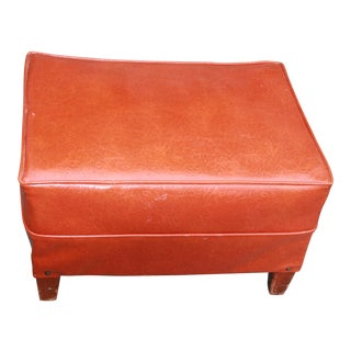 Vintage Mid Century Orange Hassock in Vinyl Ottoman For Sale