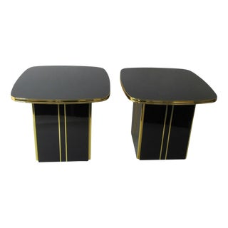 1980s Modern Mirrored Top End Tables - a Pair For Sale