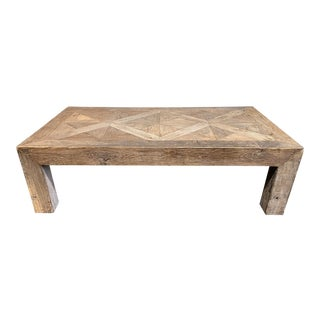 Kathy Kuo Home Birkby Rustic Lodge Natural Elm Parquet Square Coffee Table For Sale