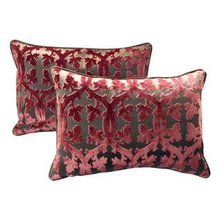 Scalamandre Falk Manor House Cut Velvet Bolster Pillows - Set of 2 For Sale