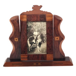 Handmade Wooden Inlay Swivel Picture Frame With Bird on Top For Sale