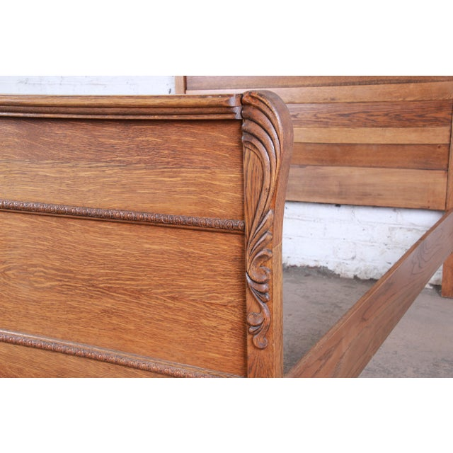 Wood Antique Carved Tiger Oak Full Size Bed, Circa 1900 For Sale - Image 7 of 8