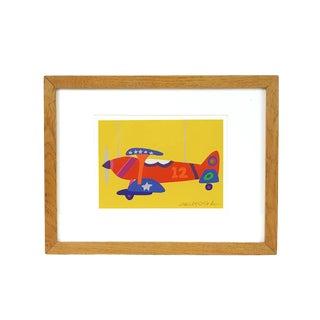 Vintage Daniel Gelakoska Airplane Serigraph Signed in Pencil For Sale